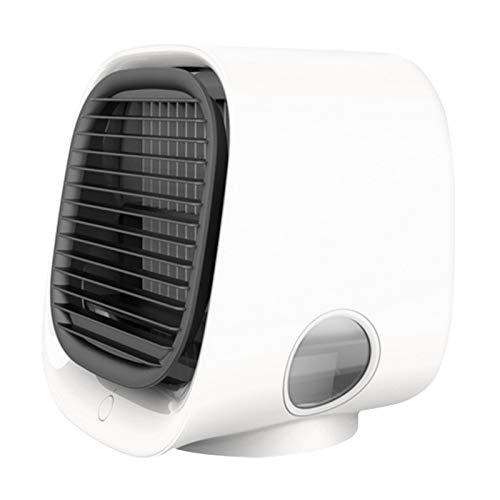 ER621YI Aire Cooler Fan Mini Desktop Air Acondicionador de Aire con luz Nocturna Mini USB Agua Agua Ventilador Humidificador Purificador Multifunción Verano (Color : White)
