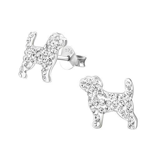 Monkimau Mädchen Ohrringe Hunde Ohrstecker aus 925 Sterling Silver echt Silber mit 74 Kristallen