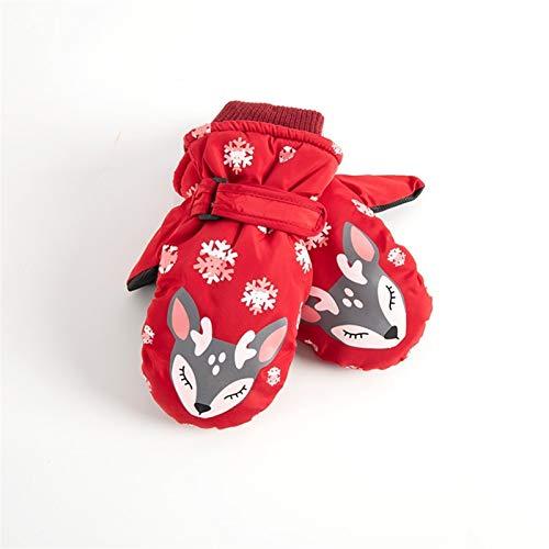 CNZXCO 2ST Kinderschi Cartoon Handschuhe Winter warm Jungen und Mädchen wasserdichte Baby im Freien Spielen Schnee Winter (Color : Fox Red, Size : One Size)