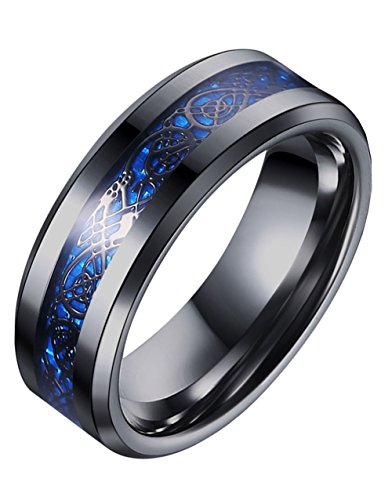 Tanyoyo Blue Black Dragon Pattern Beveled Edges Celtic Rings Jewelry Wedding Band For Men Women 7-14 (8)