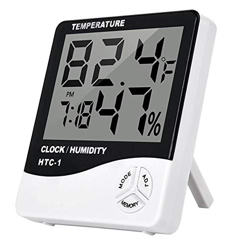 SellRider HTC-1 Digital Humidity Meter Hygrometer Thermometer with Large LCD Display Temperature Alarm Clock with Wall Mounting and Inbuilt Sensor. (Black & White)