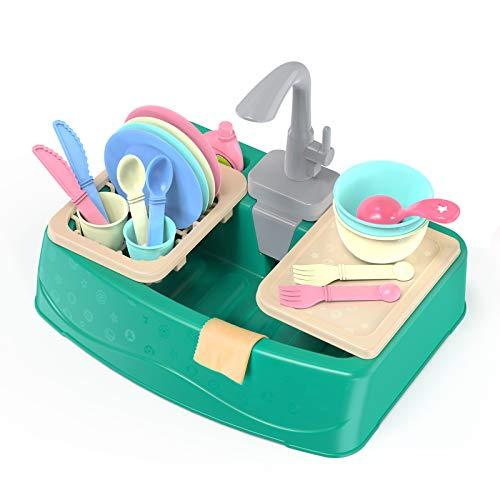 Ametoys Küchen Waschbecken Spielzeug, (21 PCS) Wärmeempfindliches Farbwechselndes Rollenspiel Kinder-spüle, Auto-Cycle-Wassersystem Spülbecken für Kleinkinder Kinder Jungen Mädchen 2 3 4 5 6 Jahre