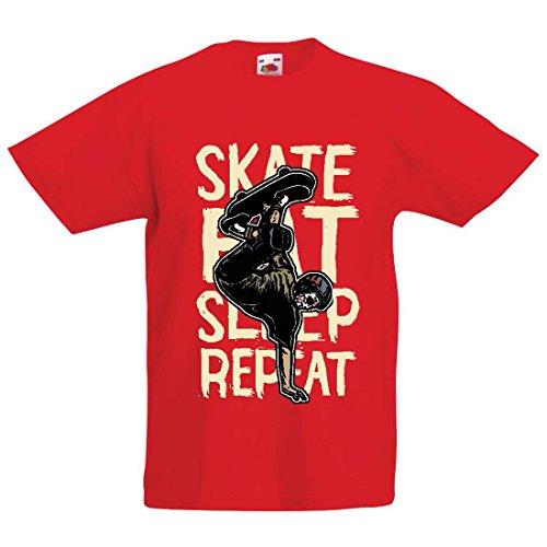 Kinder T-Shirt Eat-Sleep-Skate-Repeat Fro Skateboard Liebhaber, Skateboarder Geschenke, Skateboarden Kleidung (9-11 Years Rot Mehrfarben)