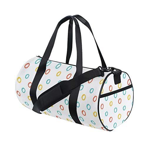 HARXISE Bolsa de Viaje,Color Infantil Aros Formas Circulares Bebé Lindo Niños Niñas Motivo,Bolsa de Deporte con Compartimento para Sports Gym Bag