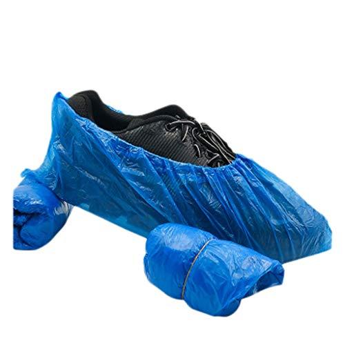 PPangUDing 100 Stück Einweg Überziehschuhe extrem Onesize Blau Anti-Rutsch wasserdicht Schuhüberzieher Einmal-Schuh Überschuhe (Blau)