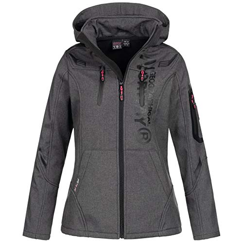 Geographical Norway Damen Softshell-Jacke Truffe mit Kapuze Dark Grey S