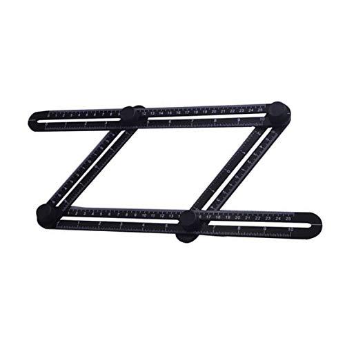 Regla de medición, herramienta de medición de ángulo múltiple de plástico para bricolaje Handyman Constructor carpintero Tiler, negro