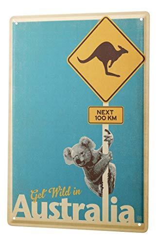 LEotiE SINCE 2004 Blechschild Dekoschild Küche Garage Welt Reise Australien Koala Kängeruh Wand Deko Schild 20X30 cm