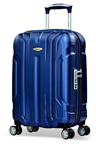 Eminent Bagaglio a mano X-tec 55cm 40L Valigia cabina rigida & leggera Superficie anti-graffio 4 Ruote doppie Lucchetto TSA Blu