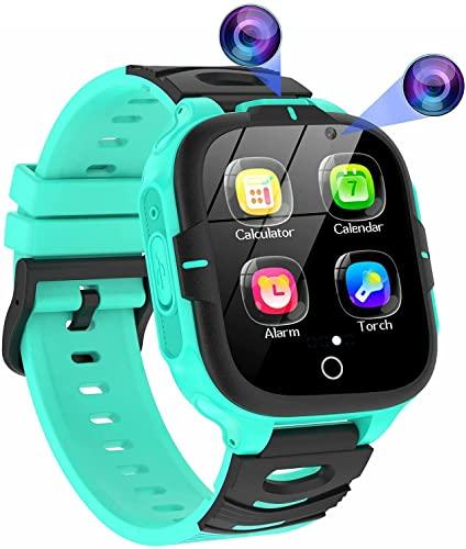 ELEJAFE Reloj Inteligente Niños, Smartwatch para Niñas Teléfono 16 Juegos 2 HD Vídeo Cámara SOS MP3 Música Linterna Despertador Calculadora 3-14 Años Estudiantes Regalo(Verde)