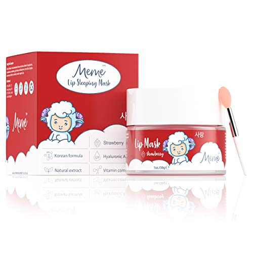 MeMe Lip Mask Overnight Berry 1Oz, Korean Beauty Collagen Peptide Lip Treatment, Night Treatment Lip Balm Effectively Moisturizes And Repairs Dry Chapped Lips, Lip Care Sleep Mask with Hyaluronic Acid
