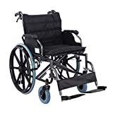 XUELIAIKEE Bariatric Wheelchair Folding Transport Chair Anti-leaning Medical Heavy Duty Wheelchair...
