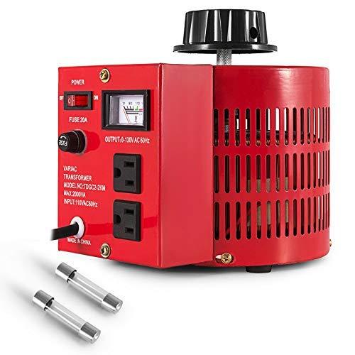 uyoyous 2000W Variable Transformer 0-130V Output ac Variable Voltage Converter Transformer 20Amp ac Variable Voltage autotransformer Regulator for Industries Equipment Appliances