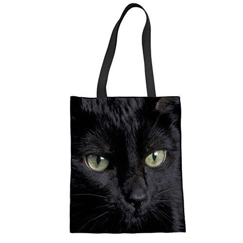 Upetstory Handtasche für Damen, süße Katze, Leinen, Schultertasche, Einkaufstasche, Strandtasche Casual L cat design10