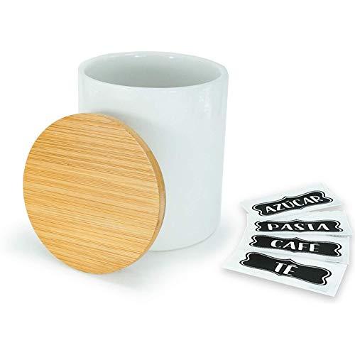 HAND-PRO Salero cerámica Blanco Salero y Azucarero de Cocina (+5 Pegatinas) Salero con Tapa de bambú Saleros de Cocina Saleros de Cocina Original