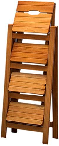 GOG Fácil y cómodo taburete plegable Paso, escalera Silla Asientos de pino Escala de madera de doble uso Suba heces 4-Paso silla de la escala flor portátil Banco zapatero Estante de almacenamiento, e