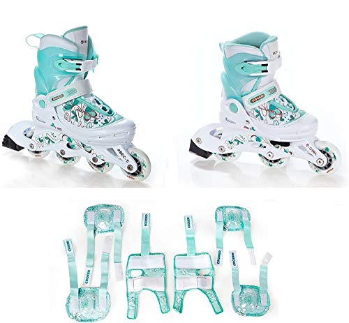 Inline Skates Inliner Raven Laguna White/Mint + Schützer Croxer Fibre Mint (30-33(19cm - 21,5cm) + Schützer M)