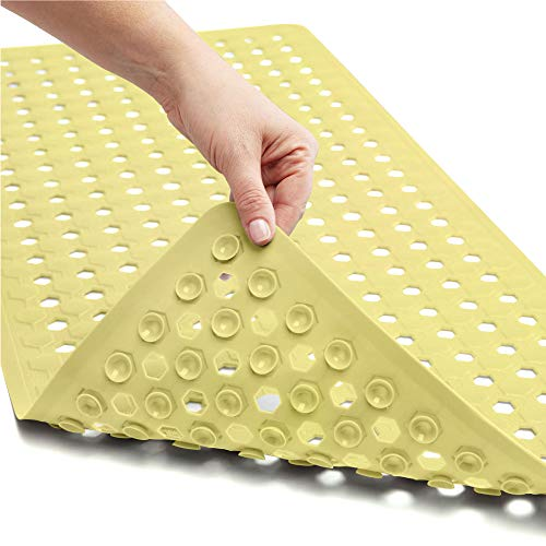Gorilla Grip Original Patented Bath, Shower Tub Mat, 35x16, Many Colors, Washable, XL Size Bathroom Bathtub Mats, Drain Holes, Suction Cups, Yellow Opaque