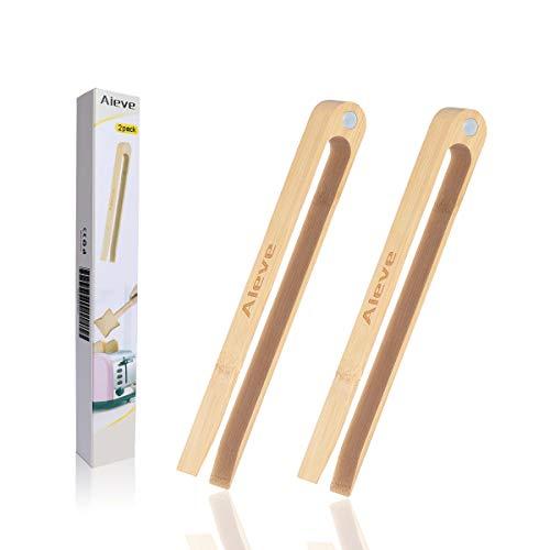 Pinzas de cocina AIEVE, 2 unidades, de madera de bambú, con