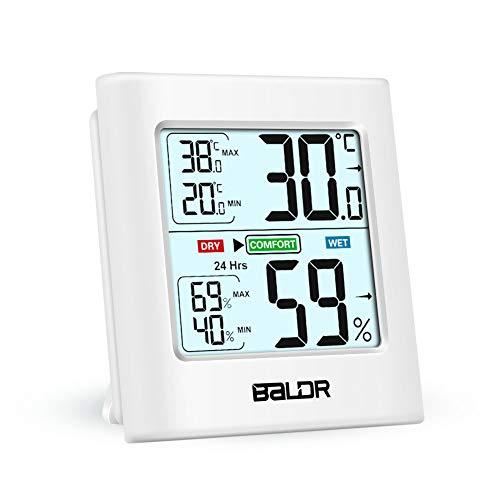 Hospaop Digital Hygrometer Thermometer Innen, Raumthermometer Temperatur und Luftfeuchtigkeitmessgerät mit Hintergrundbeleuchtung, feuchtigkeitsmessgerät mit Bewegungssensor für Babyraum, Wohnzimmer