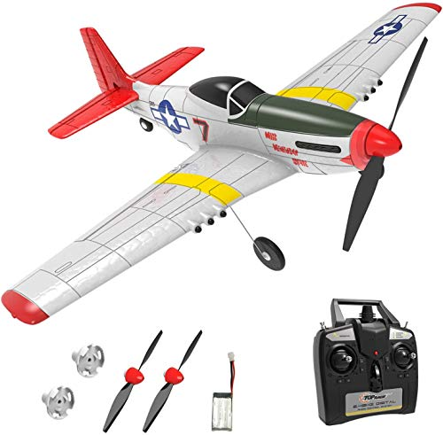Top Race Rc Plane 4 Channel Remote Control Airplane Ready to Fly Rc Planes for Adults, Advanced Rc Foam Airplane for Adults, Remote Control War Plane P51 Mustang Upgraded with Propeller Saver
