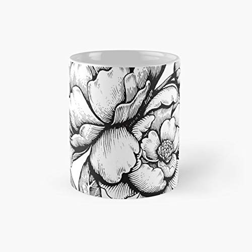 Peonies - Lineart Classic Mug Birth-day Holi-day Gift Drink Home Kitchen