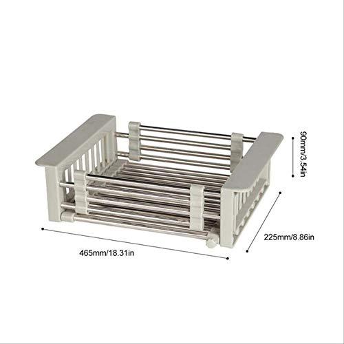 FHFF Kitchen Drain rackMultifunctionele Holle Wasmand Keukenspoelbak Stereofonisch 304 RVS Afvoerrek Schaal Zilver