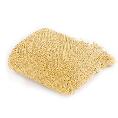 Battilo Kuscheldecke mit Quasten Weiche Gemütliche Tweed-Decke aus Strick 125 × 150 cm Leichte Dekorative Decke für das Sofa-Couchbett Warme im Zick-Zack Gewebte Wohndecke(Yellow)