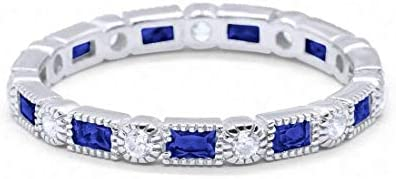 3mm Art Deco Full Eternity Wedding Band Baguette Simulated Blue Sapphire Round Cubic Zirconia product image
