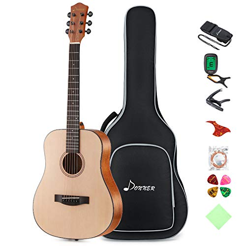 Donner 36'' Dreadnought Acoustic Guitar 3/4 Size Guitar Bundle Package Kit for Beginner Kid Teen Student Adult Travel, Spruce Wood With Gig Bag Capo Tuner Strap String Guitar Picks