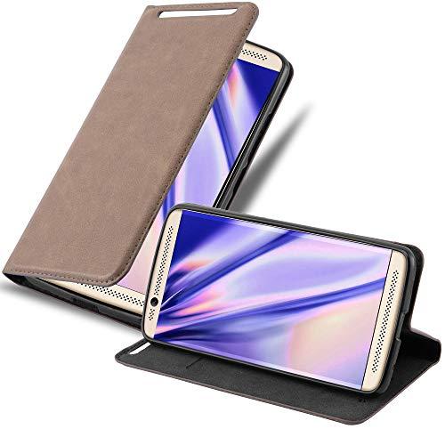 Cadorabo Hülle für ZTE Axon 7 - Hülle in Kaffee BRAUN – Handyhülle mit Magnetverschluss, Standfunktion & Kartenfach - Hülle Cover Schutzhülle Etui Tasche Book Klapp Style