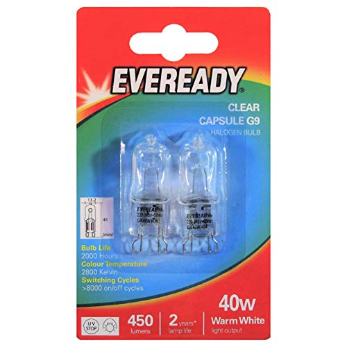 Eveready 25 W / 40 W klar Kapsel G9Halogen Lampe Birne, Zweierpack, Energieklasse D, glas, weiß, G9 40 wattsW 240.0 voltsV