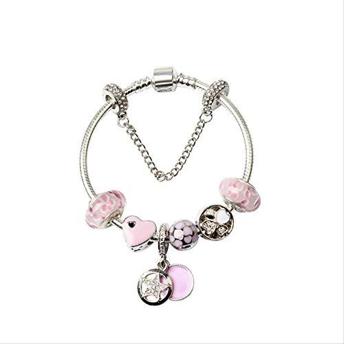 ZSCRL Mode Tandem Glas Armband, DIY Pfirsich Glasperlen Schmuck, mit Damen Partykleid, Lange 19cm Silberperlen