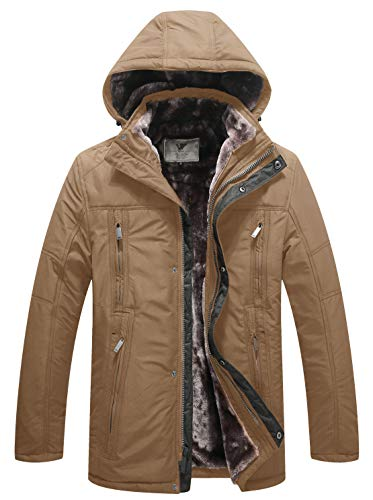 WenVen Men's Winter Warm Insuleted Trench Jacket with Hood Thick Coat(Khaki,XL)