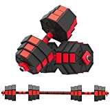 FiveShops Adjustable Dumbbell Pair, Dumbbell Combination Environmental Dumbbell Barbell 20kg/44lb Free Weights Dumbbells with Connecting Rod, Lifting Dumbbells Used for Home Gym【US Stock】 (Red-44LB)