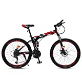 Dapang Bicicleta de montaña 21/24/27 Velocidad Marco de Acero 27.5 Pulgadas Ruedas de 3 radios Bicicleta de suspensión Plegable Doble,Red,24speed