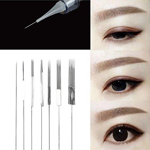 50 Stücke Microblading Nadel, Augenbraue Permanent Eyeliner Lip Tattoo Microblading Permanent Make up Nadel + Nadelkappe (1RL, 3RL, 5RL, 7RL, 3F, 5F, 7F)(3RL)