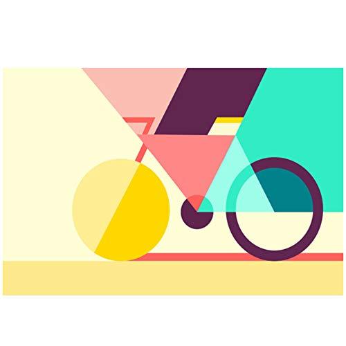 ZMFBHFBH Leinwand Malerei Kunst Geometrisches Fahrrad Kreative Nordic Bike Poster Abstrakte Wandbilder Moderne Wohnkultur Wohnzimmer 70x100cm (27,6