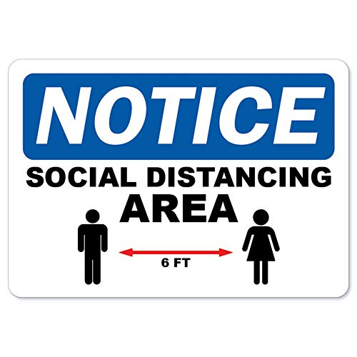 SignMission Coronavirus Notice Sign - Social Distancing Area | Vinyl Decal | Protect Your Business, Municipality, Home & Colleagues | Made in The USA, 5' X 3.5' Decal (OS-NS-D-35-25594)