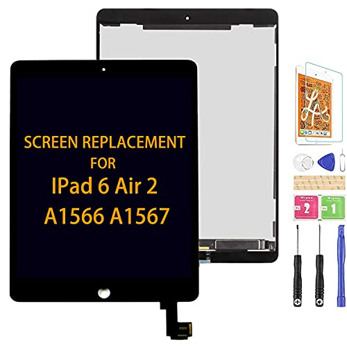 Per iPad Air 2 A1566 A1567 LCD Screen Ricambio Digitizer Vetro Kit di Assemblaggio, Pellicola Temperata, Colla e Strumenti (Nero)