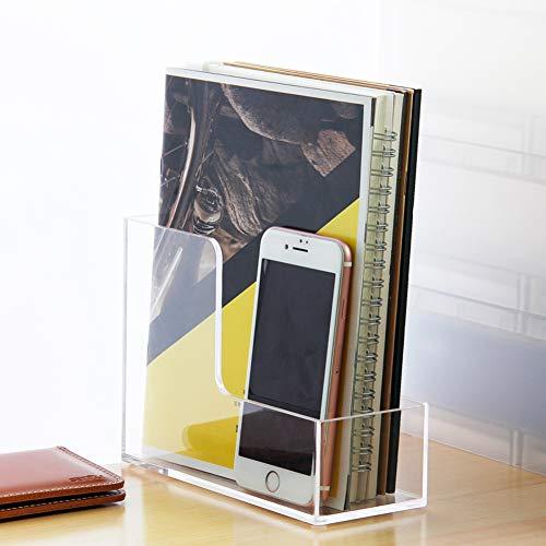 XDDAXYY Portariviste in Acrilico, Ufficio File Casella Portatile File Cartella Porta Notebook Deposito Rack di Stoccaggio Trasparente-a