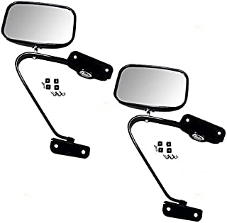 Pair of Manual Side View Black Steel Mirrors Replacement for Ford Pickup Truck SUV E4TZ17682A AutoAndArt