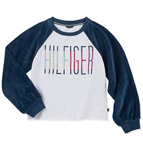 Tommy Hilfiger Big Girls' Pullover Fashion Sweater, Flag White, 8/10