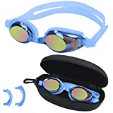 BEZZEE PRO Gafas Natacion Azules para Niñas y Niños – Gafas Protección UV y Antivaho - Estuche de Almacenamiento - 3 Puentes Nasales Suaves de Distintos Tamaños – Gafas Piscina Niños Herméticas