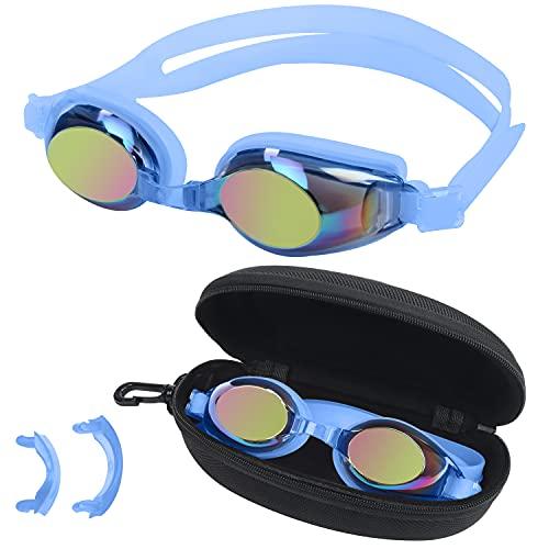 BEZZEE PRO Occhialini Nuoto Bambini Azzurri - Occhiali da Nuoto con Protezione UV e Antiappannamento con Custodia - 3 Ponti Nasali Morbidi di Diverse Dimensioni - Regolabili Antiperdita per Nuotatori
