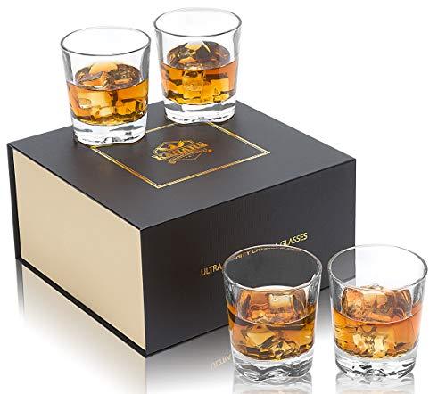 KANARS Vasos de Whisky, Copas de Whisky Cristal 100% Sin Plomo, Caja de Regalo de Lujo, 230 ml, 4 Piezas