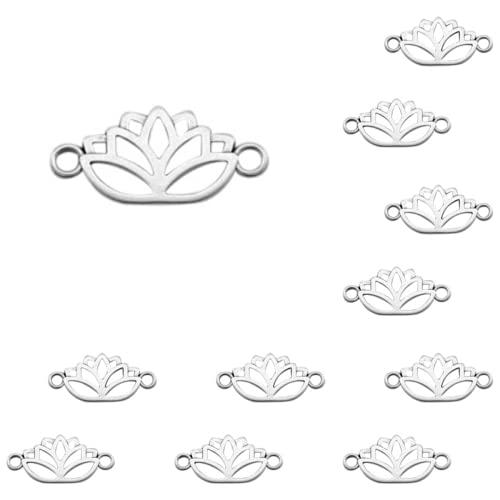 Sadingo Juego de 11 pulseras con colgante de plata de 27 x 13 mm, para cadena, pendientes, flor de loto, colgante para manualidades, bisutería