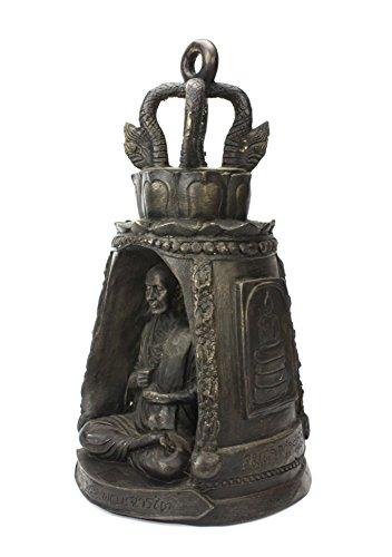 Thai Bronze metal Temple Bell con Monaco, circa 35cm di altezza, CM6009
