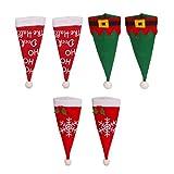 Wakauto 6 Unids Navidad Santa Sombreros Titulares de Cubiertos Mini Sombrero de Santa Elf Sombrero Cubiertos Titular de Cubiertos Vajilla Decoración para Fiesta de Navidad Cena de Cocina