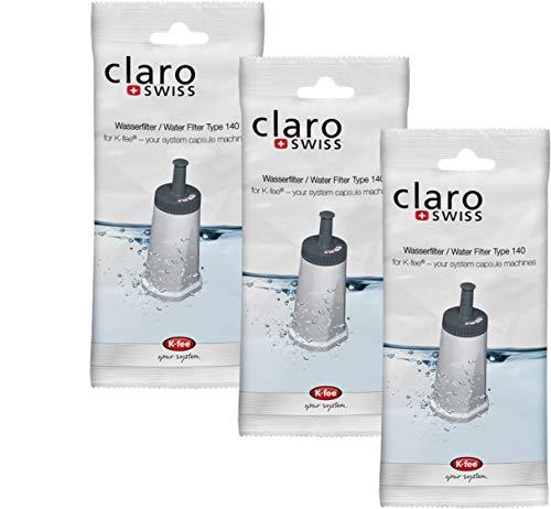 Claro Swiss | Reinigungs-Set 07 | Wasserfilter Type 140 3er Pack | K-fee | Teekanne TeaLounge System | Reinigung | Wasserenthärtung | Pflege-Set